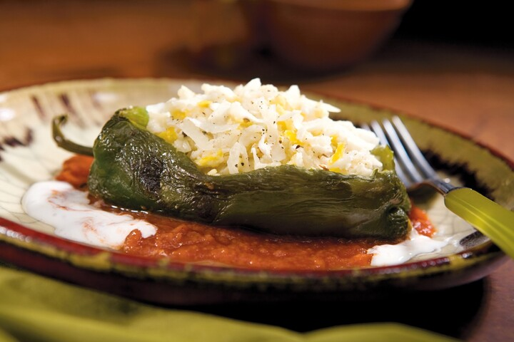 Cauliflower and Goat Cheese Chile Relleno