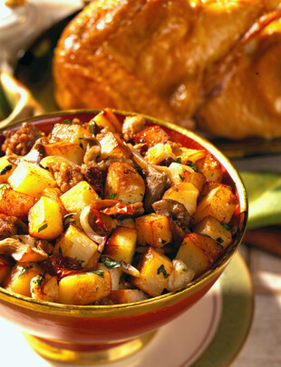 Lemon-Sage Roast Chicken with Sausage-Mushroom-Idaho® Potato Stuffing