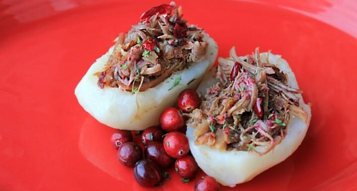 Idaho® Potato Boats Stuffed with Cuban Mojo Pork and Cranberries