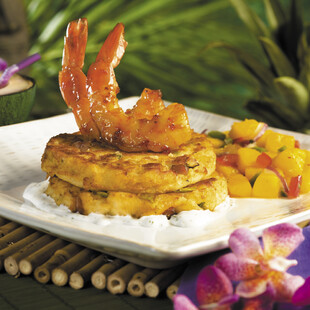 Paniolo Idaho® Potato Hash with Sautèed Shrimp and Dill Cream Sauce