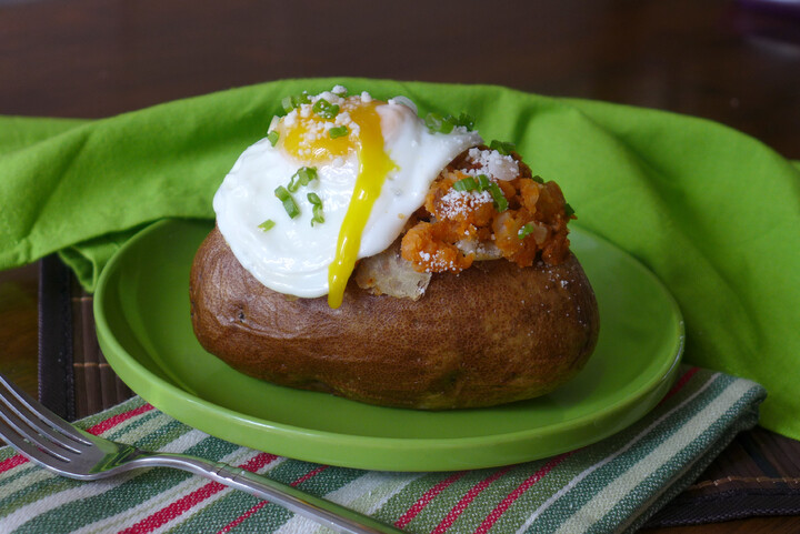Baked Idaho® Potato with Chorizo, Green Onions, Cotija Cheese and Fried Egg on Top