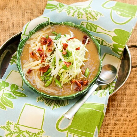 Irish Potato Cabbage Soup with Bacon & Cheese