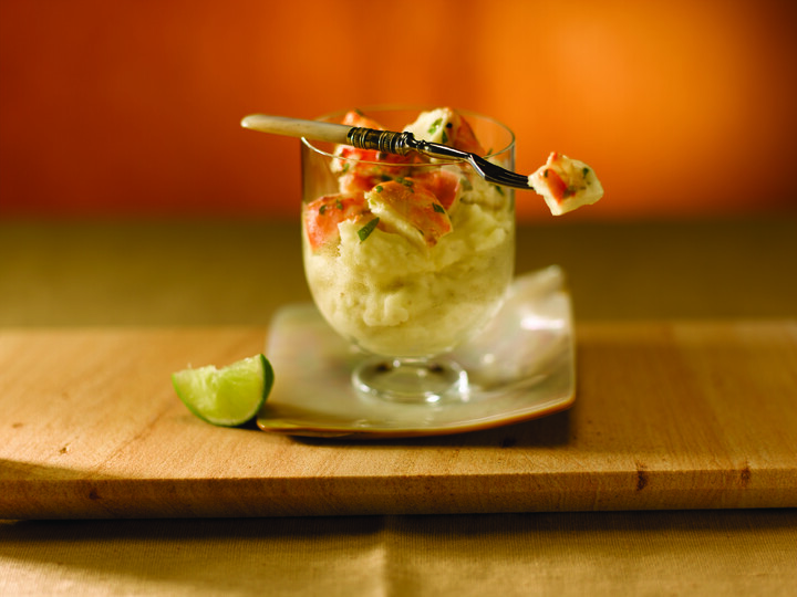 Lobster Cocktail with Roasted Garlic Mashed Idaho® Potatoes
