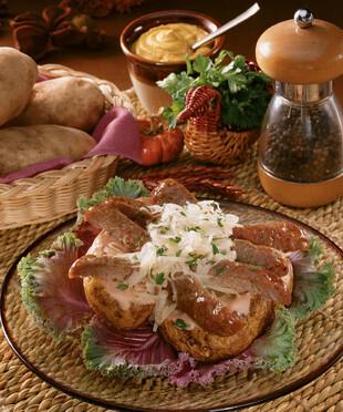 Reuben Brat-Stuffed Baked Idaho® Potatoes