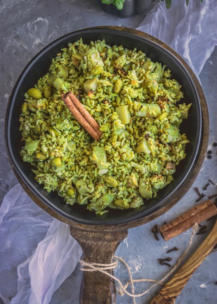 Instant Pot Spicy Idaho® Potato Mint Pulav