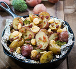 Roasted Potatoes with Bacon and Parmesan Crisps