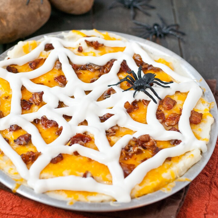 Loaded Mashed Idaho® Potato Spider Web Casserole