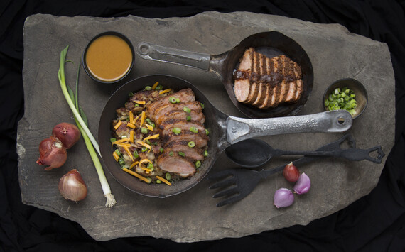 Refried Idaho Mashed Potatoes with BBQ Pork Tenderloin