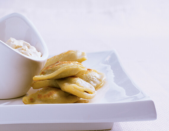 Idaho® Potato & Short Rib Pierogi with Caramelized Onion Sour Cream