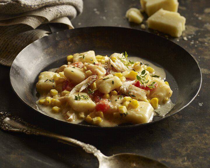 Louisiana Crab, Corn and Tomato Gnocchi with Pork and Parmesan Beurre Monté
