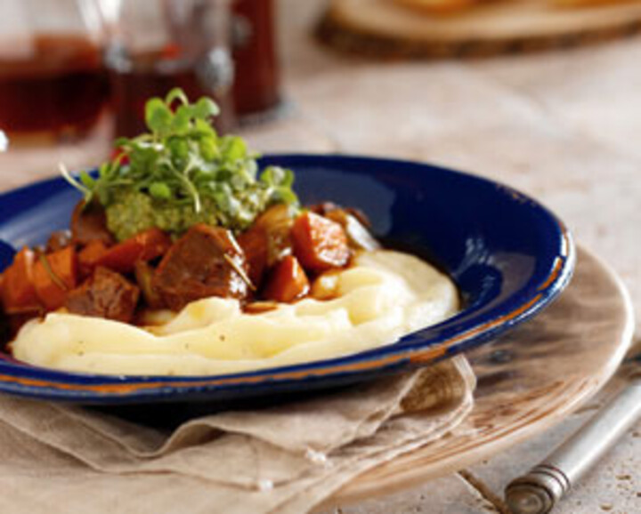 Lamb Stew with Pesto & Arugula