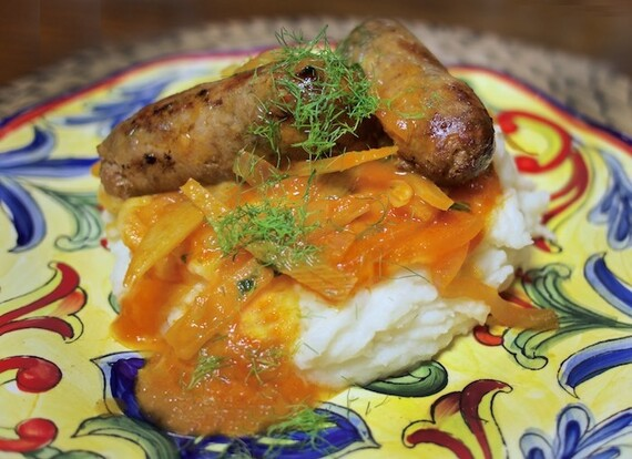 Sausage, Fennel & Onions over Whipped Pecorino Idaho® Potato
