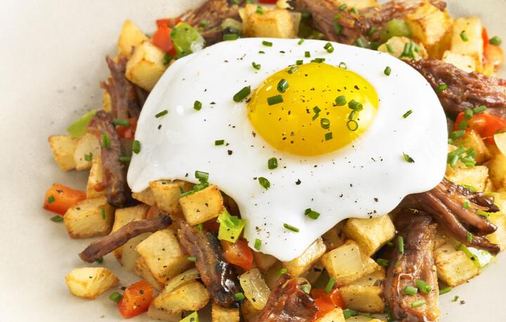 Idaho® Potato J&B Hash with Braised Beef Shortribs