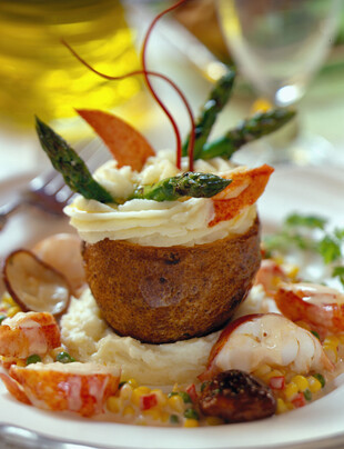 Twice cooked Idaho® Potato, Grilled Asparagus and Maine Lobster Hash