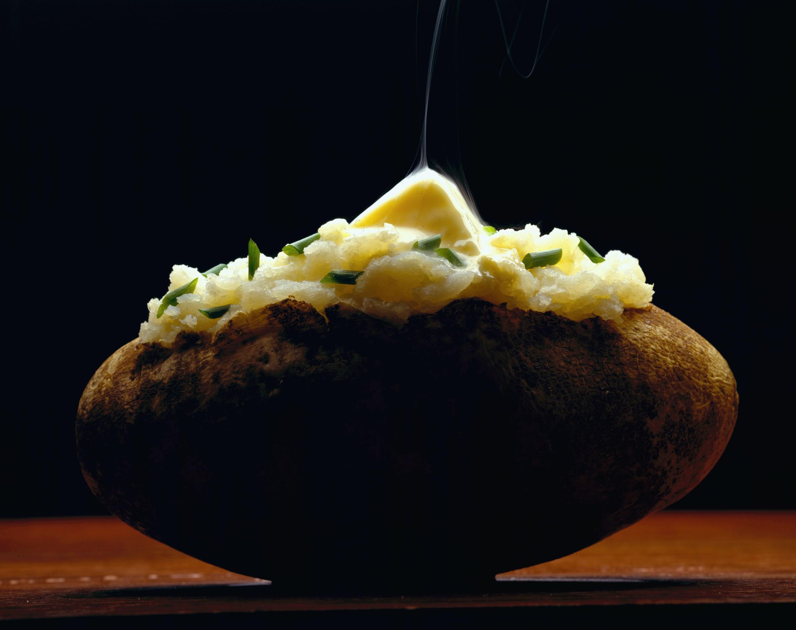 Nice baked Idaho Russet Burbank variety potato